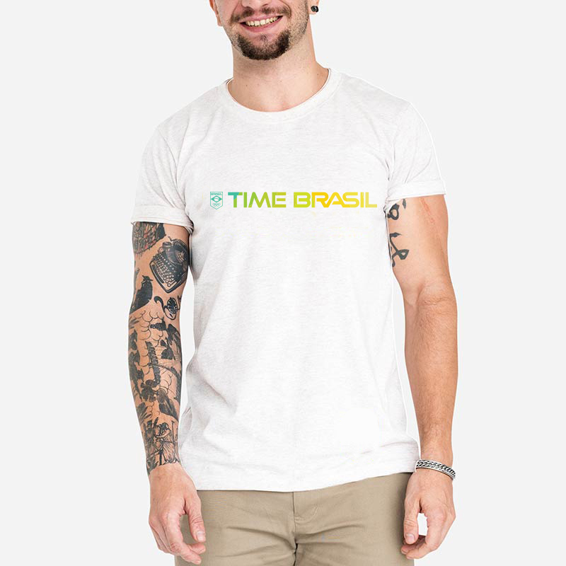 Camiseta-Unissex-Branca---100%-Algodão---Time-Brasil-Amarelo
