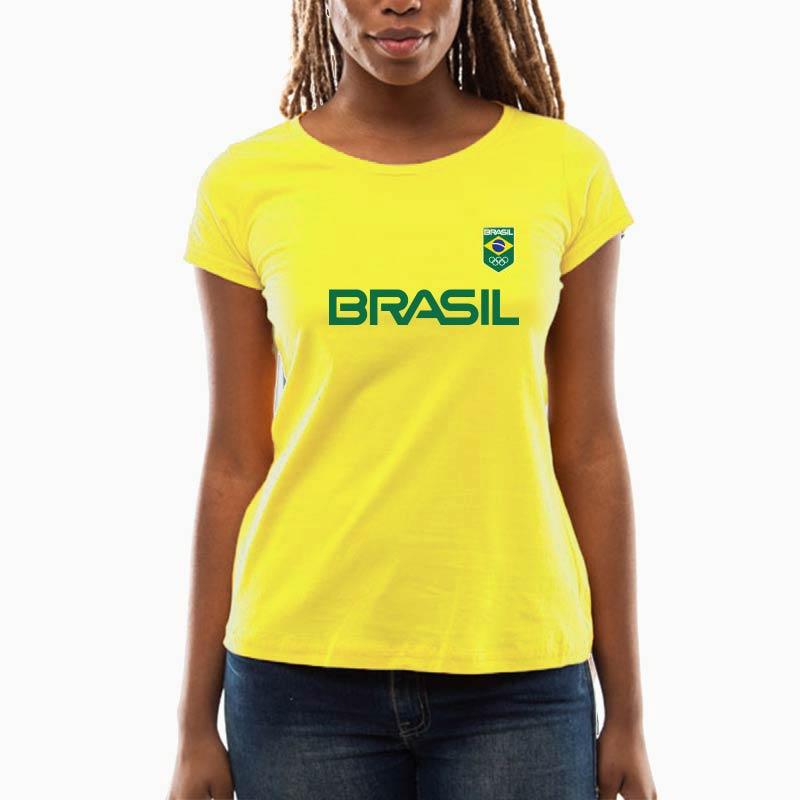 Camiseta-Feminina-Long-Amarela---100%-algodão---Silk-Logo-Brasil