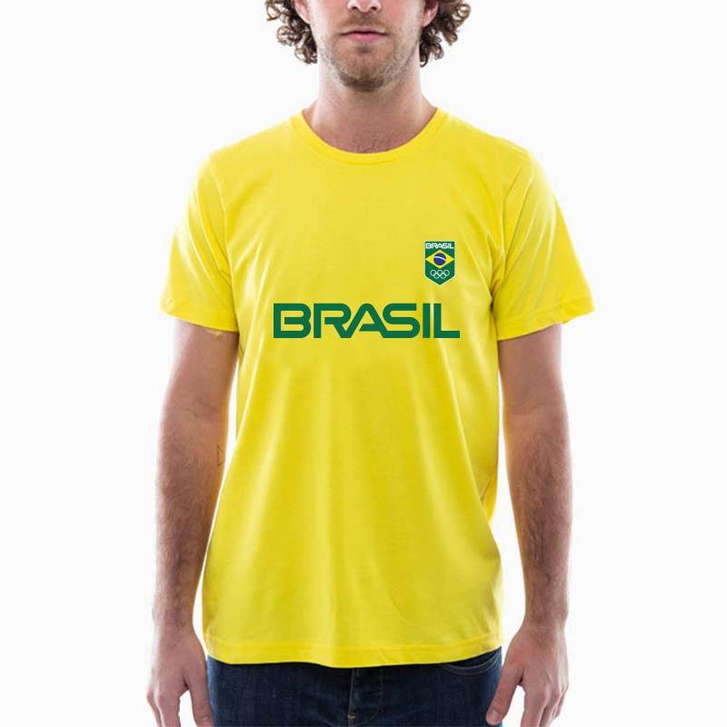 Camiseta-Unissex-Amarela---100%-algodão---Silk-Logo-Brasil