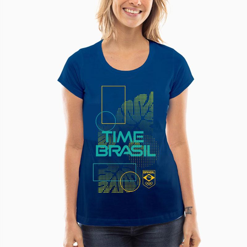 Camiseta-Feminina-Long-Azul---100%-Algodão---Folhas