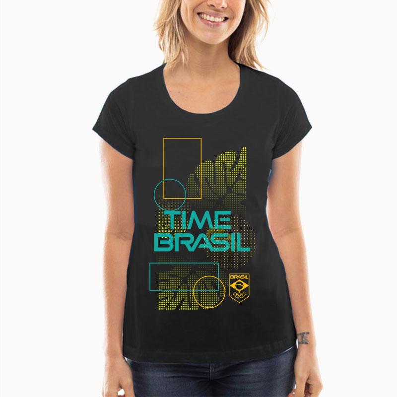Camiseta-Feminina-Long-Preta---100%-Algodão---Folhas
