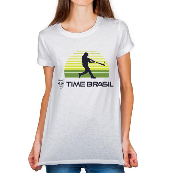 Camiseta feminina Branca - 100% Algodão - Beisebol / Softbol