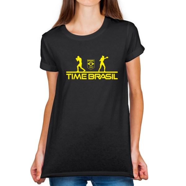 Camiseta feminina Preta - 100% Algodão - Boxe