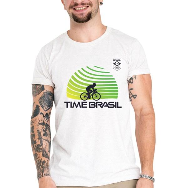 Camiseta Unissex Branca - 100% Algodão - Ciclismo de Estrada