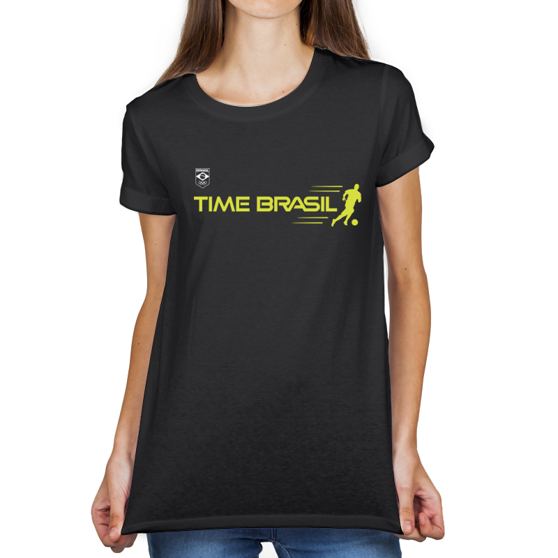 Camiseta feminina Preta - 100% Algodão - Futebol