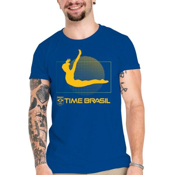 Camiseta Unissex Azul - 100% Algodão - Ginástica de Trampolim