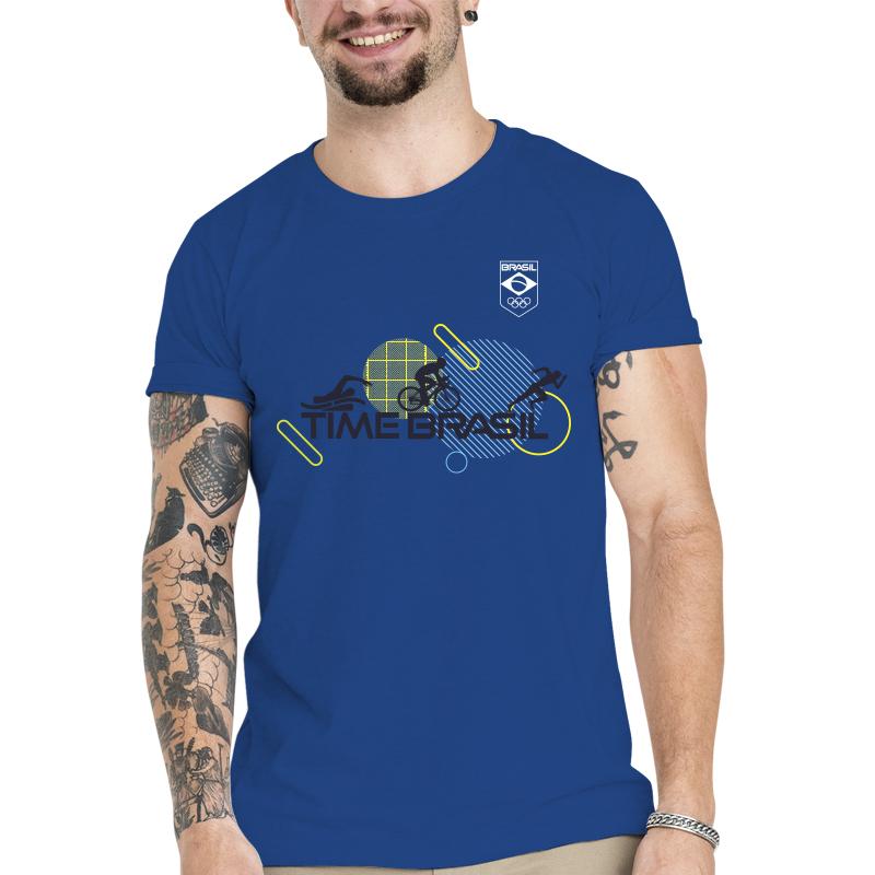 Camiseta Unissex Azul - 100% Algodão - Triathlon