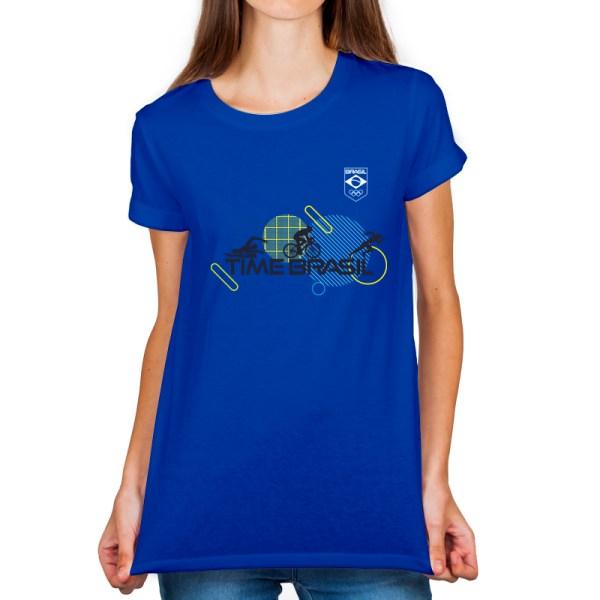 Camiseta feminina Azul - 100% Algodão - Triathlon