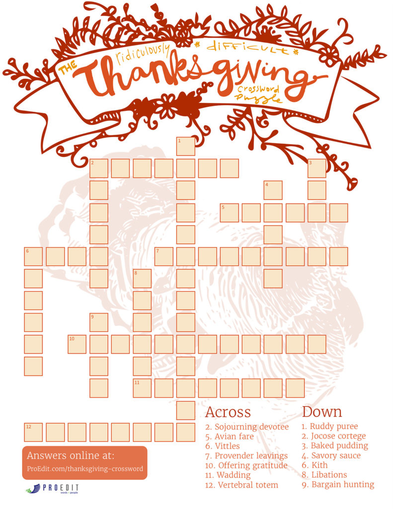 The Ridiculously Difficult Thanksgiving Crossword Puzzle