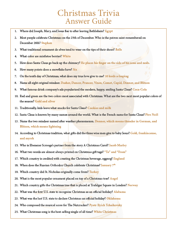 Printable Christmas Trivia PDF with Answer Guide