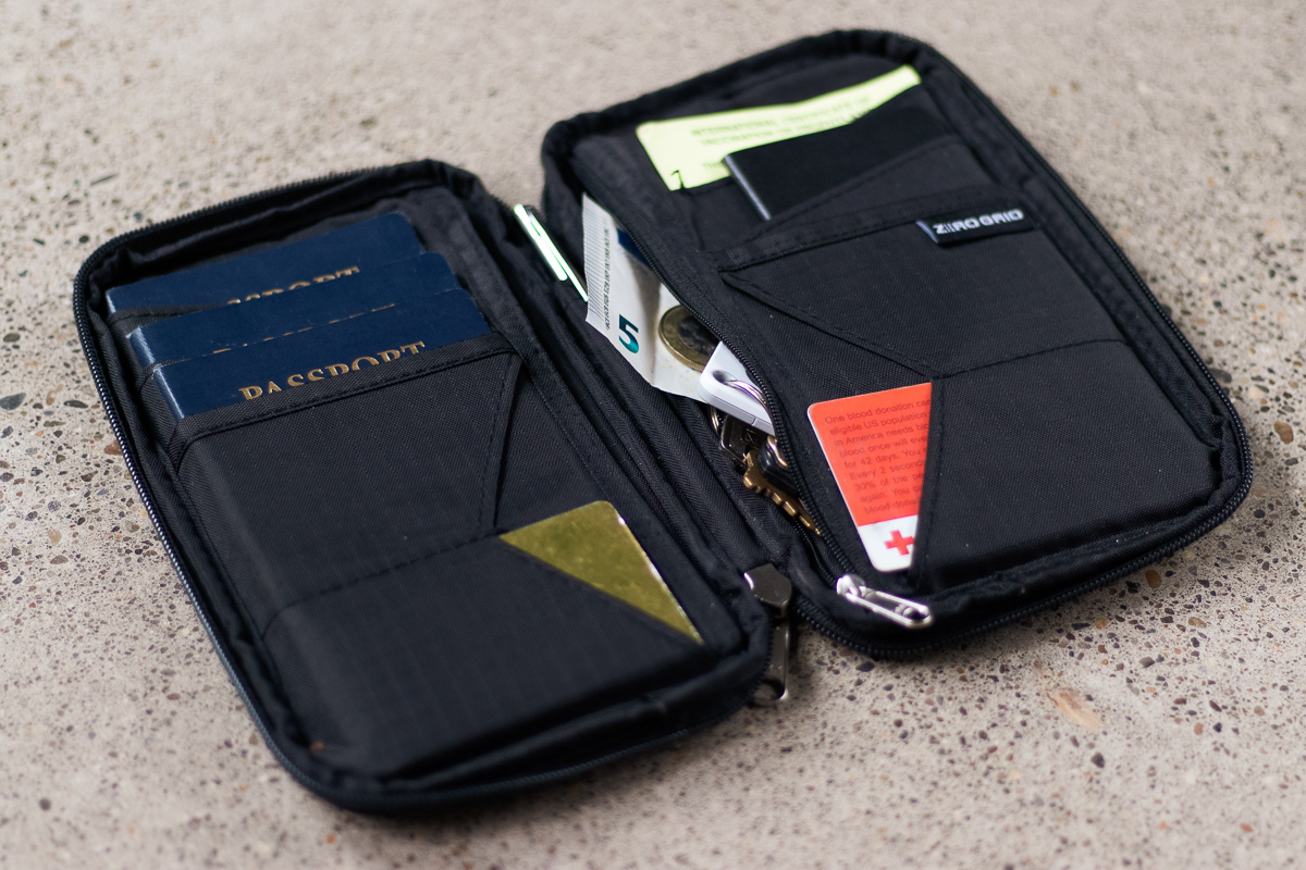 Zero Grid Passport Wallet open view
