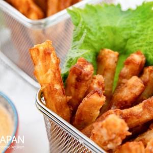 Gefrituurde daikon frietjes met shichimi togarashi mayonaise.