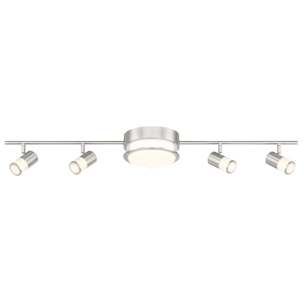 brushed nickel integrated led track lighting kit with flush mount ceiling light and 4 rotating track heads