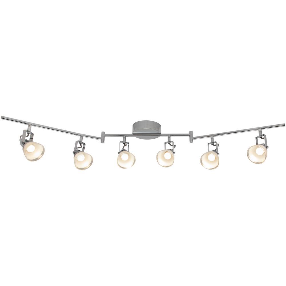 6 light 4 ft chrome integrated led track lighting kit