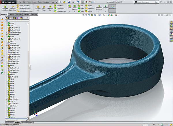 Solidworks Harley Davidson Rod is thicker where it's needed
