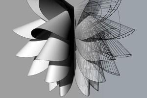 Tim Powers lamp shade created using Rhino 3d in the design engine Rhino training cass