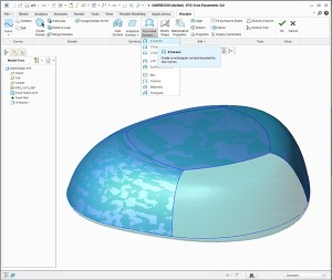 Manually wrapping curves and surfaces using creo Restyle across a portion of an STL scan.