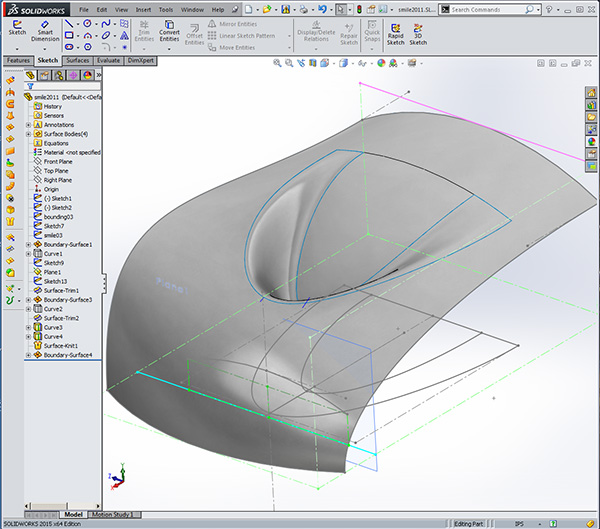 Design-engine solidworks surfacing exercise