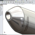 Motorcycle Exhaust Created using Solidworks top down design