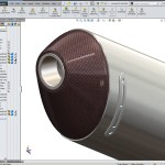 Motorcycle Exhaust created using Solidworks top down design tools