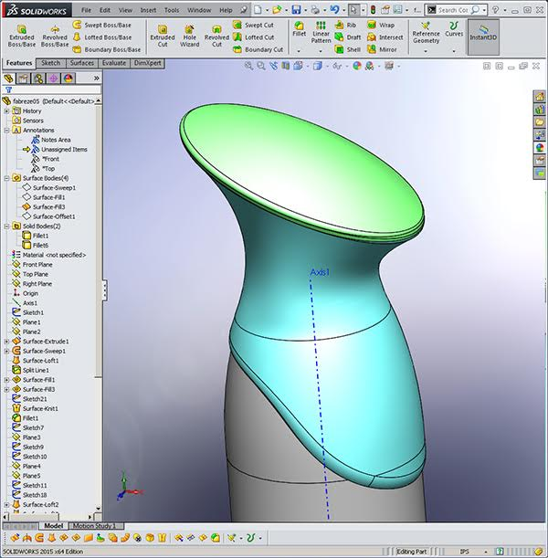 frabreze model created with Solidworks Surfacing