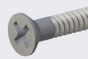 Creo Phillips head screw where the Solid cut goes up to a revolved surface