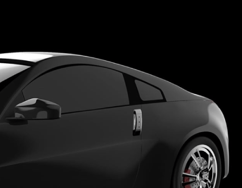 A 3D rendering of a black sportscar