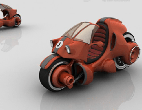 Red 3D scooters