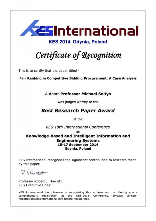 KES2014 Best Research Paper