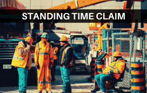 "Men standing on a construction site. The words ""Standing Time Claim"" across the image."