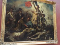 Liberty Leading the People, Eugene Delacroix, 1830. Combines romanticism and realism to portray the revolutionary days of 1830. View is awry due to many who wanted to see this great work.