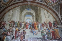 """Raphael's """"School of Athens"""" in Vatican. The large man in the front who is writing represents Michelangelo."""