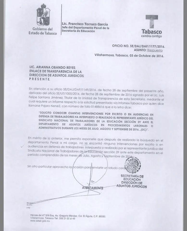Informe de la SETAB sobre las intervenciones de la Sección 29 del SNTE en defensa de sus agremiados.