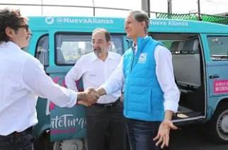 En la imagen: Gabriel Quadri, excandidato a la Presidencia de la República, Luis Castro, líder del PANAL y Alfredo del Mazo, candidato a la gubernatura del EDOMEX.