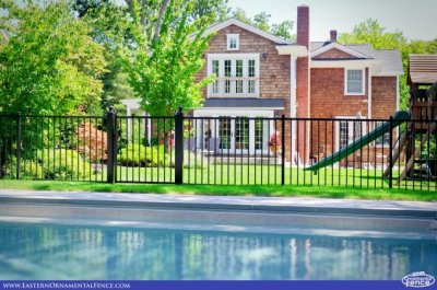 Eastern Aluminum Fence Style EO40V two rail BOCA Code Compliant Pool Fence with a 4 foot wide straight top gate between available 4x4 gate posts  and optional 4x4 ball caps.