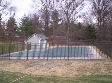 54 inch Starling Style in Bronze. OnGuard aluminum pool fence panels measure 72-1/2 inches center to center on the standard 2x2 post. All posts come with a flat cap and sections come with the stainless steel screws necessary to secure the panel to the post.