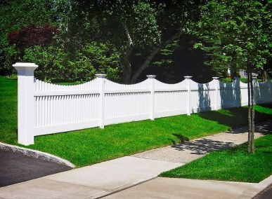 Illusions Vinyl Classic Victorian Picket fence style V707-4. A four foot tall panel with a scalloped top.