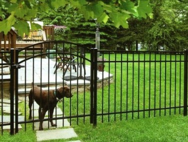 Four foot tall Eastern Ornamental Aluminum Style 4202 with 2x2 gate posts and ornamental gate latch