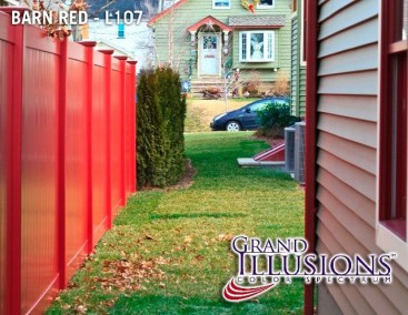 Illusions style V300 T&G privacy fence in Barn Red L107 finish by Grand Illusions