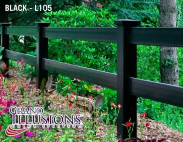 Illusions 2 rail Post and Rail fence in Grand Illusions Black L105. Post and rail is available in 3 and 4 rail as well as crossbuck.
