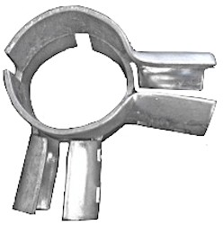 Galvanized or powder coated chain link end and corner clamps can be used on residential or commercial installations.