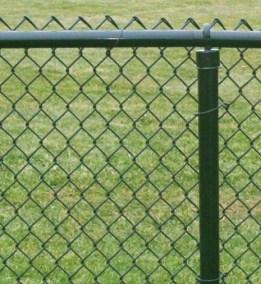 Powder coated chain link fence framework is available in a choice of colors with 'fabric' to match.