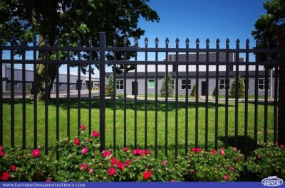 """Eastern Ornamental Aluminum EO4101 four foot tall 3 rail fence. Referred to as an """"open top"""" fence style."""