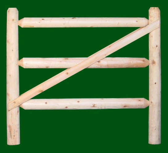 Eastern White Cedar Three rail post and rail gate 5 foot wide