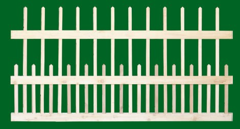 Classic Victorian Cedar picket fence panel with 3 rails and staggered pickets