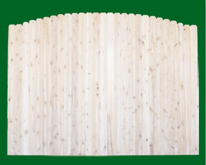 Eastern White Cedar Solid Shaped Privacy Fence panel - Crowned - with a number 11 picket top.