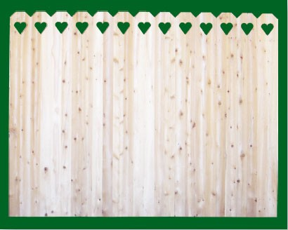 Eastern White Cedar with Hearts cut into Dog Ear style pickets top. NOTE: These pickets are actually two pieces of 1x4 that are not joined together - this panel should be used where the grade is flat or in a 'stepped' installation!
