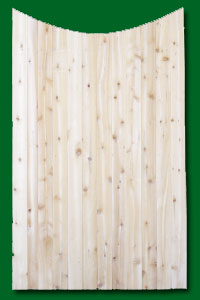 Eastern White Cedar Gate with a scalloped top.
