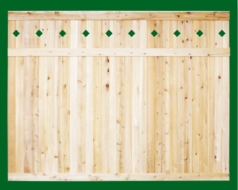 Eastern White Cedar one piece T&G Cedar privacy panels with diamond cut outs