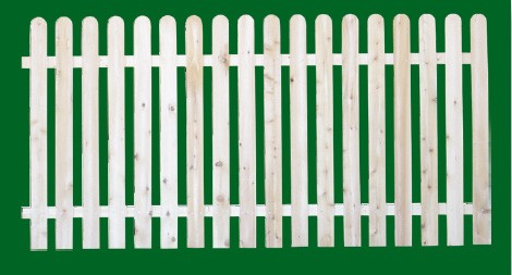 Eastern White Cedar Picket Fence panel with a number 11 shaped picket